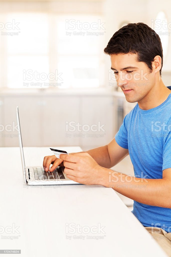 Young Man Shopping Online royalty-free stock photo