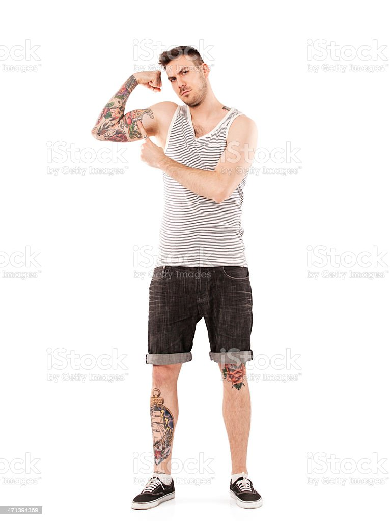 Young Man Showing His Tattoo stock photo