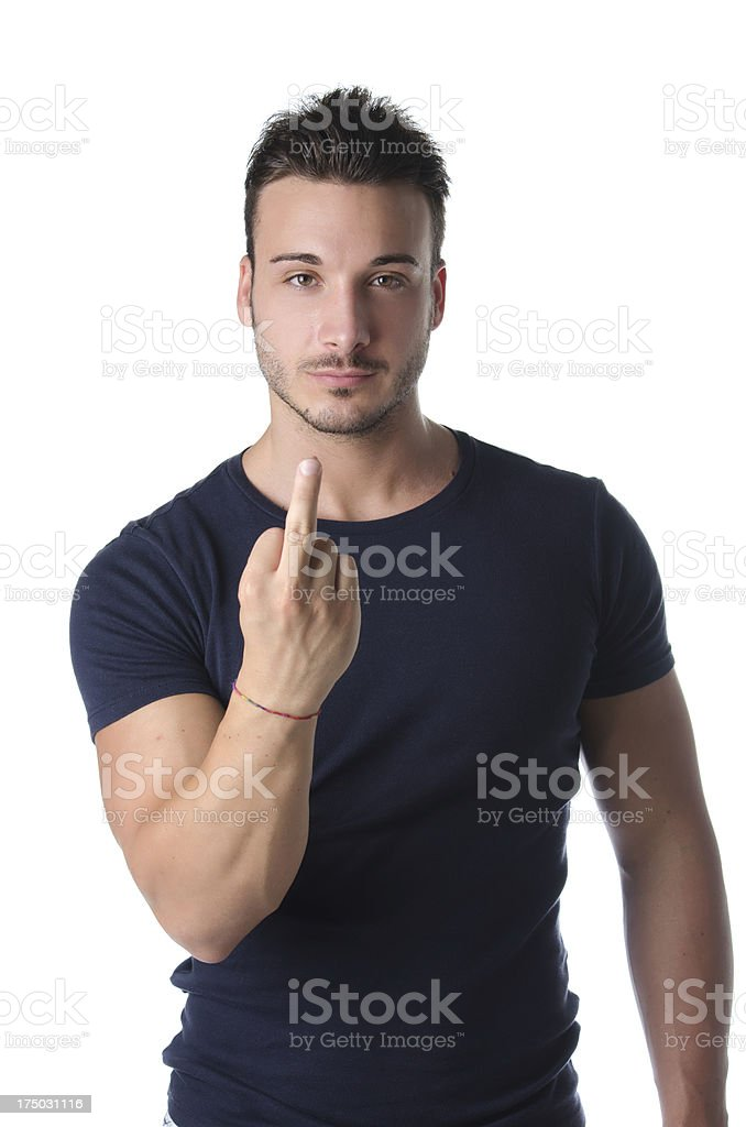 Young man showing middle finger royalty-free stock photo