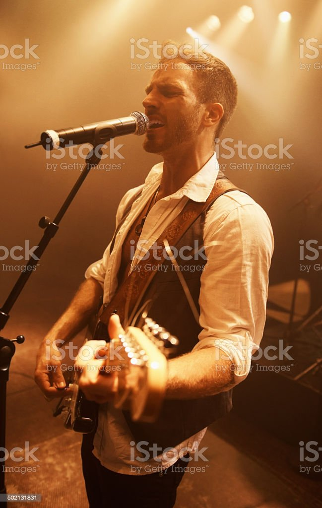 Letting his passion show through the music royalty-free stock photo