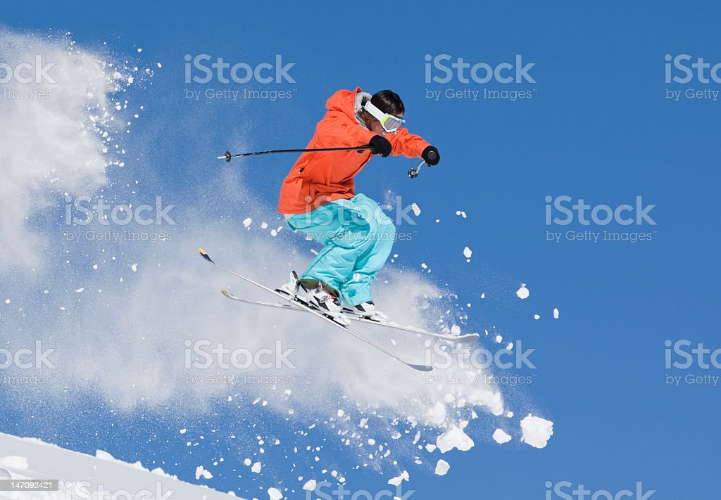 Young Man Ski Jumping In Colorado royalty-free stock photo