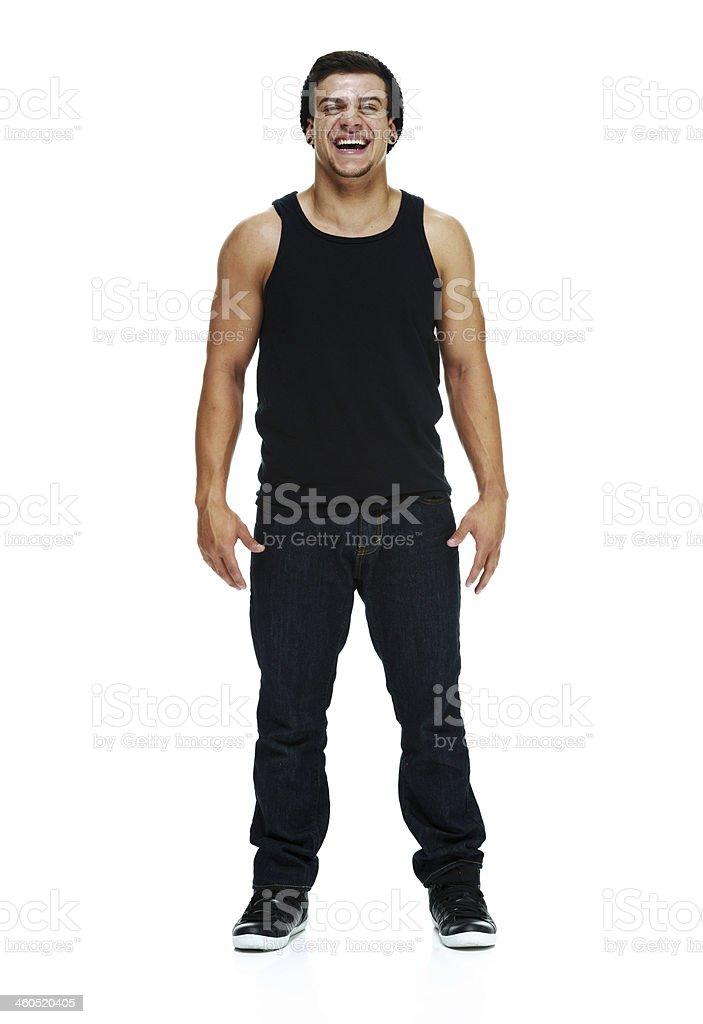 Young man smiling at camera stock photo