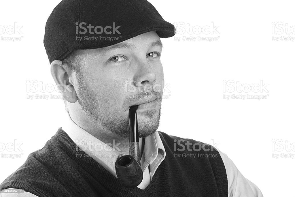 Young Man Smoking A Pipe stock photo