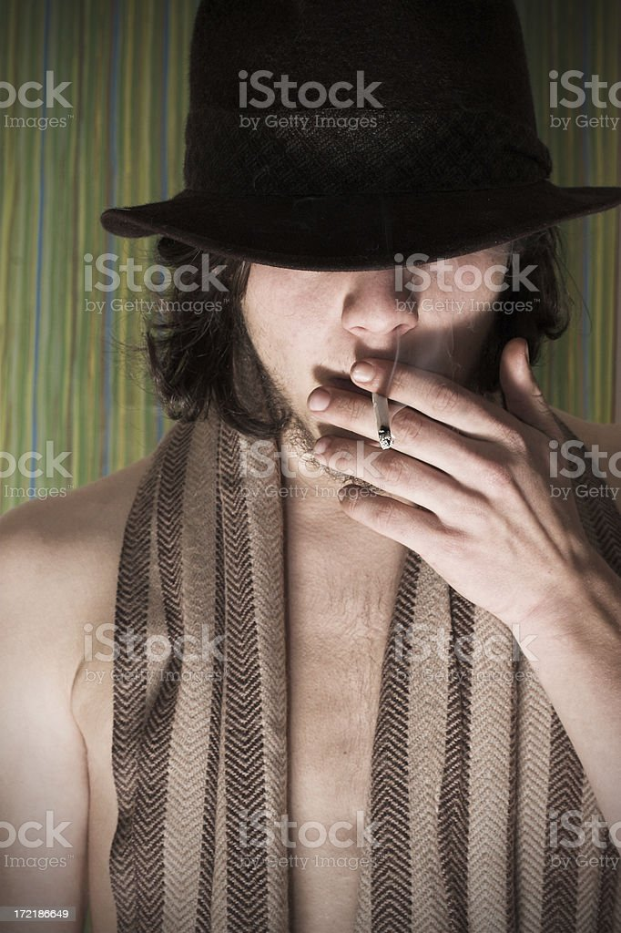 young man smoking stock photo