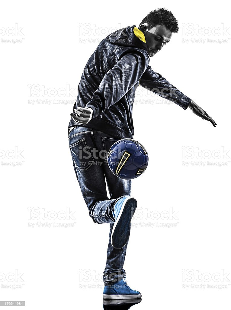 young man soccer freestyler player silhouette royalty-free stock photo