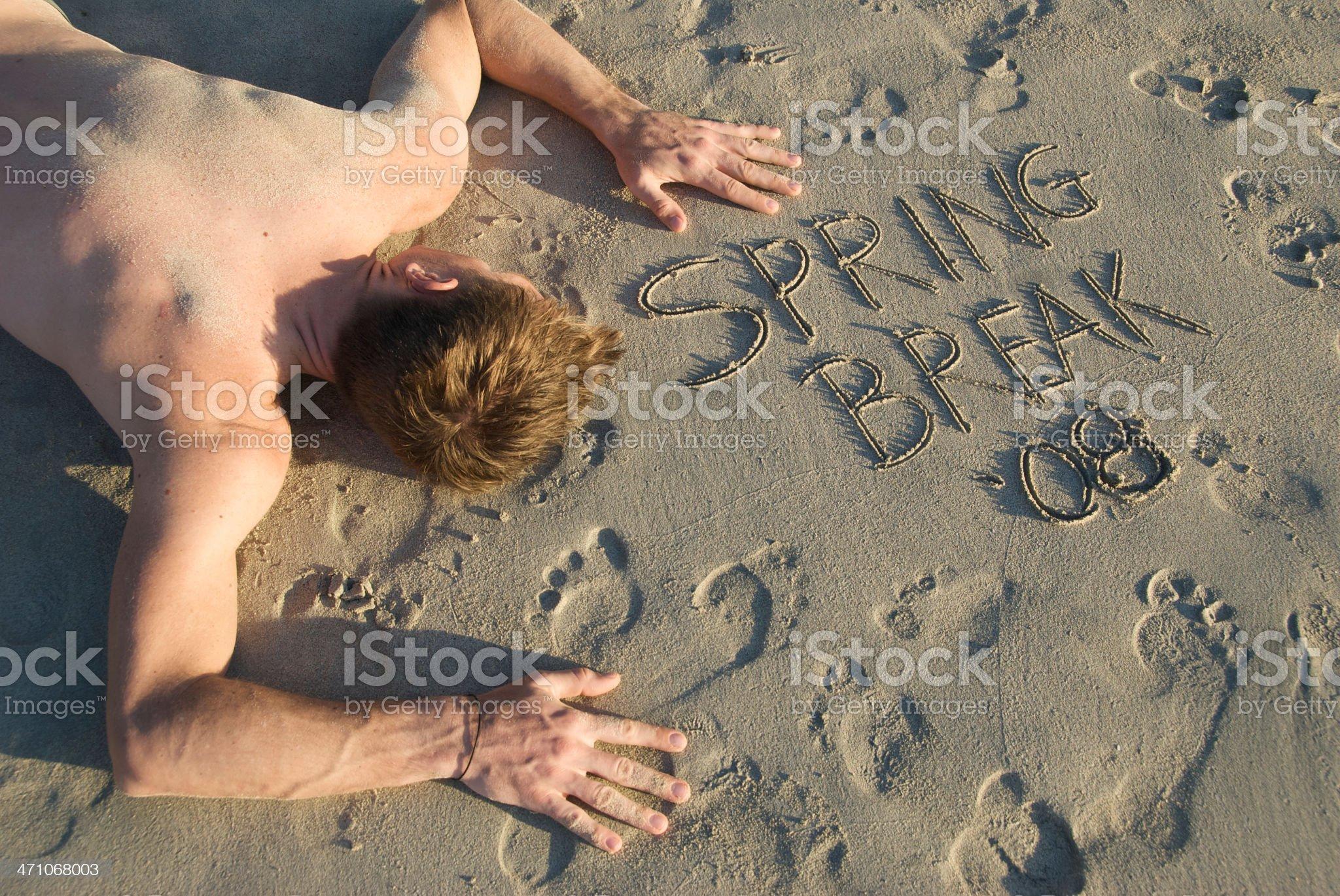 Young Man Spring Break Hangover royalty-free stock photo