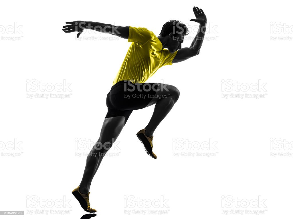 young man sprinter runner running silhouette stock photo