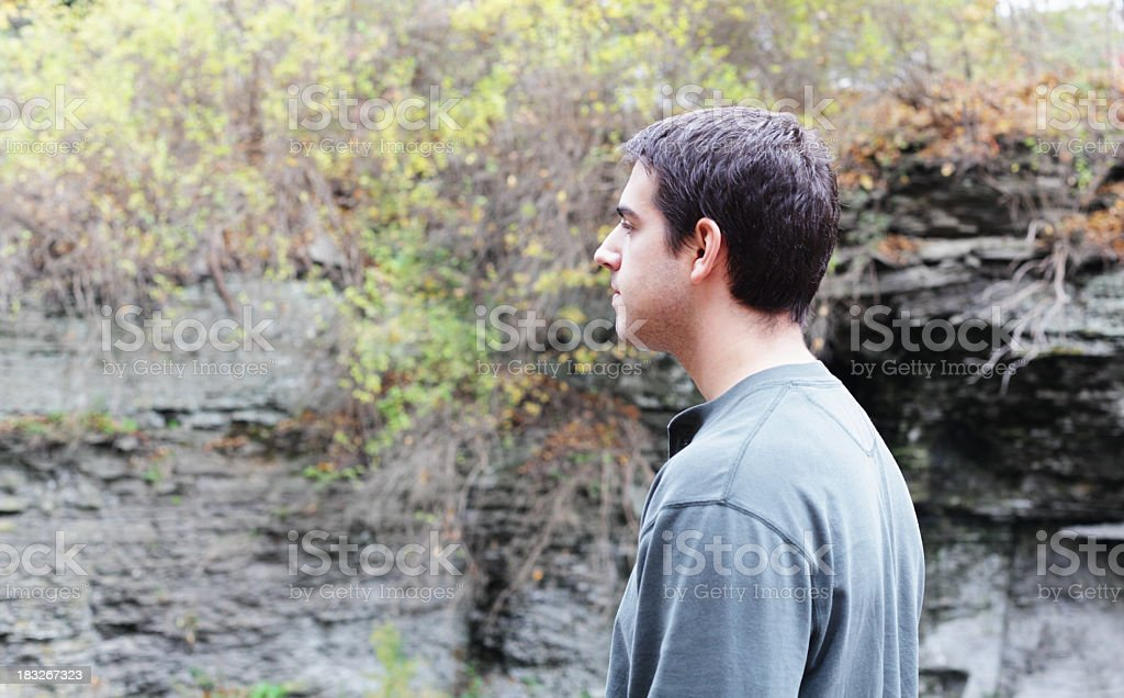 Young Man Standing Near Ithaca NY River Gorge stock photo
