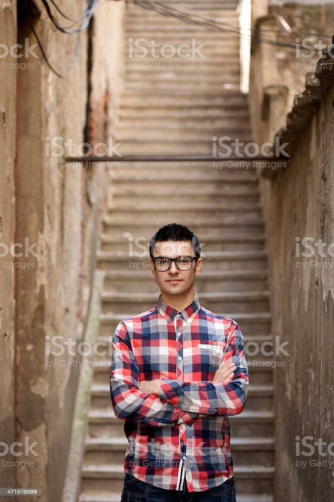 young man standing outdoor royalty-free stock photo