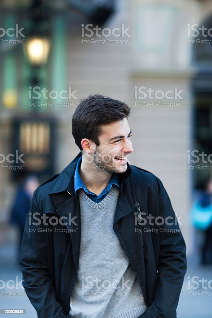 Young man street portrait. stock photo