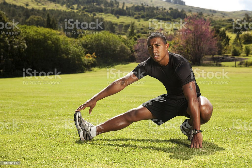 Young Man Stretching Outdoor royalty-free stock photo