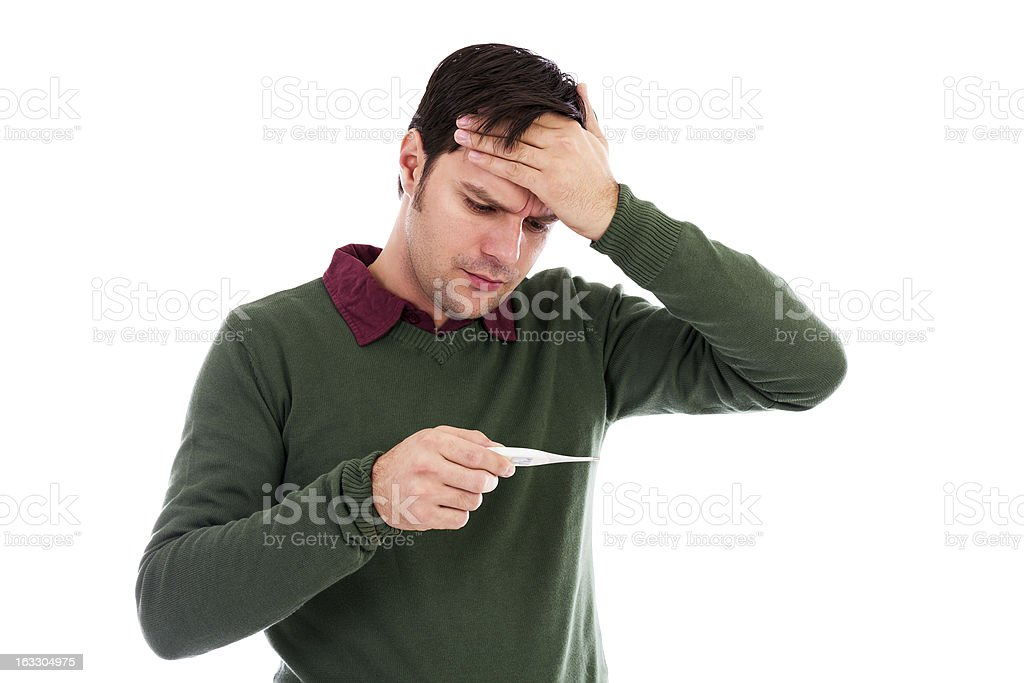 Young man suffering from a cold royalty-free stock photo
