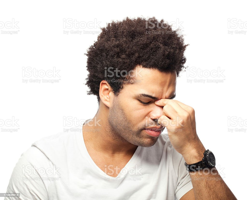 Young man suffering sinusitis stock photo