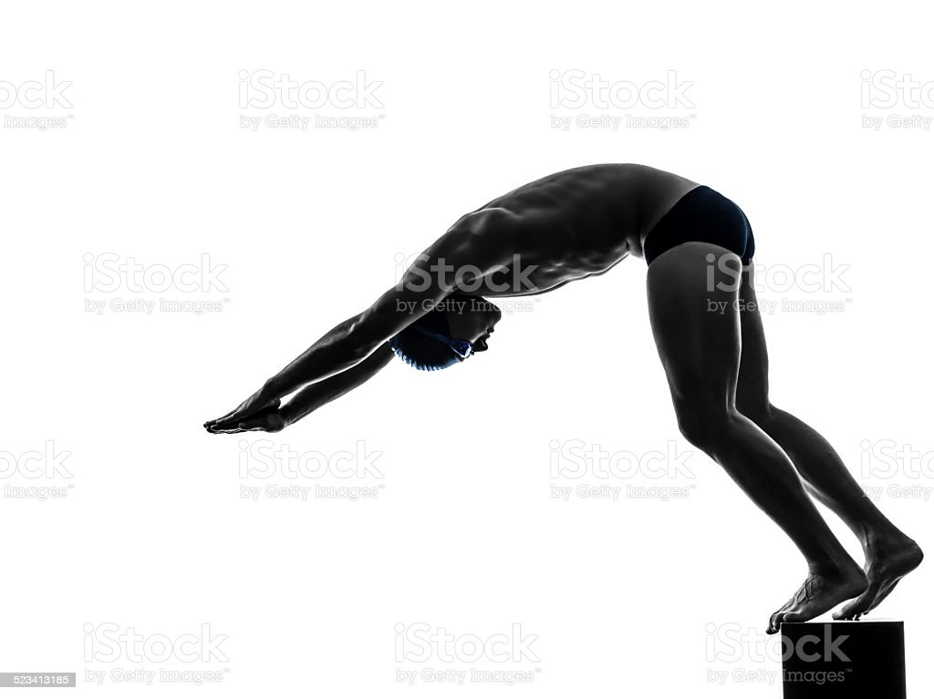 young man swimmer swimming  silhouette stock photo