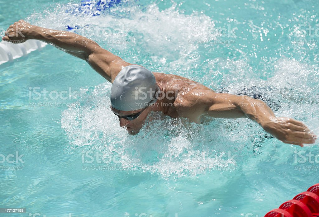 Young Man Swimming stock photo