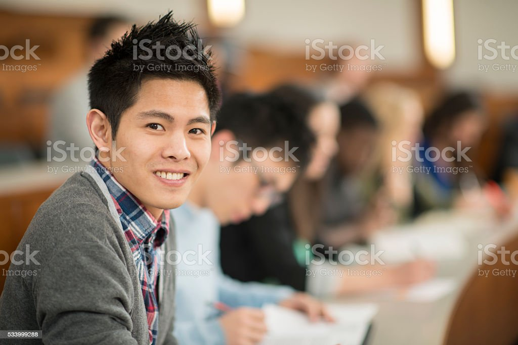Young Man Taking a College Course stock photo