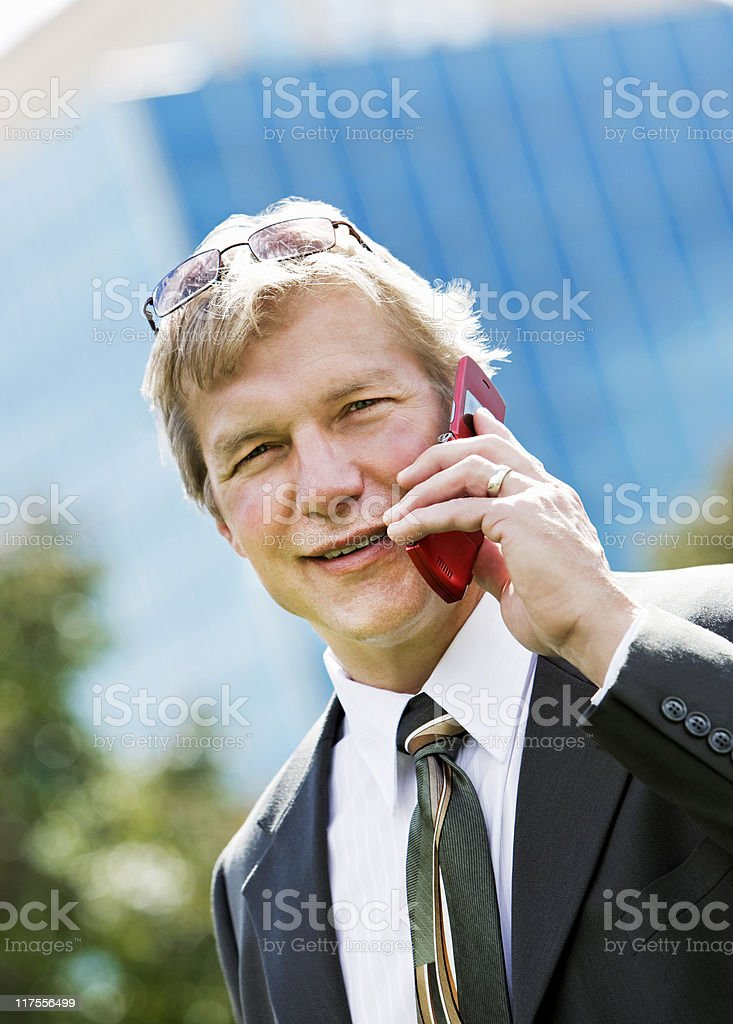 Young Man Talking on Cellphone stock photo