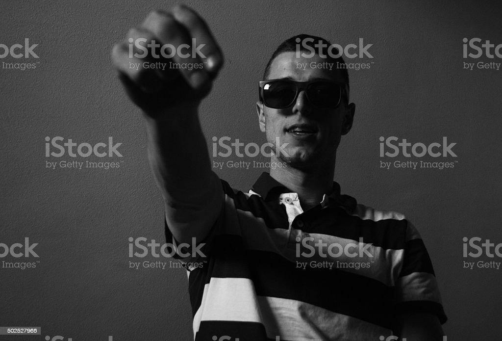 Young man talking to camera stock photo
