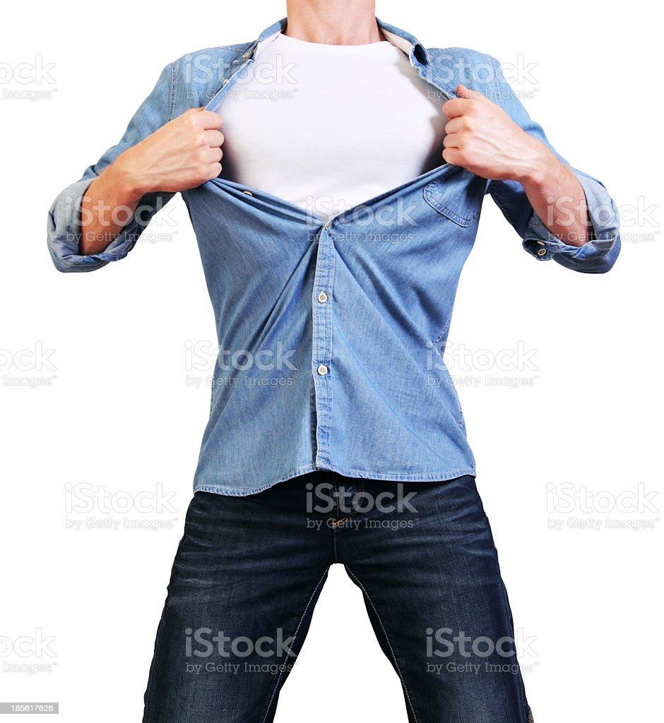 Young man tearing his shirt off isolated on white stock photo