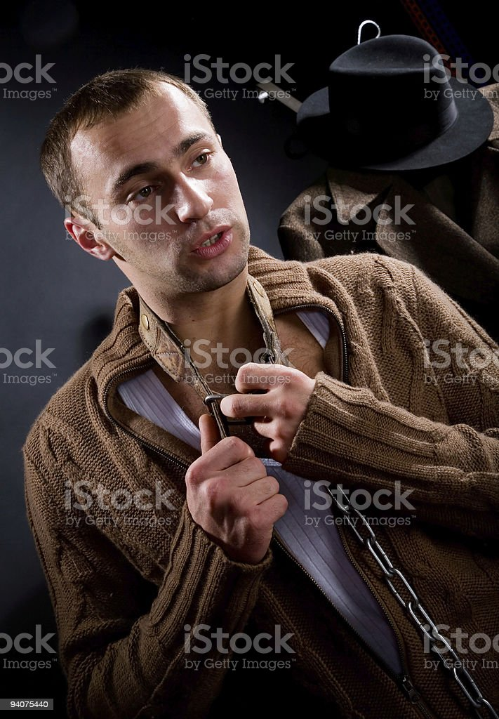 young man tells stock photo
