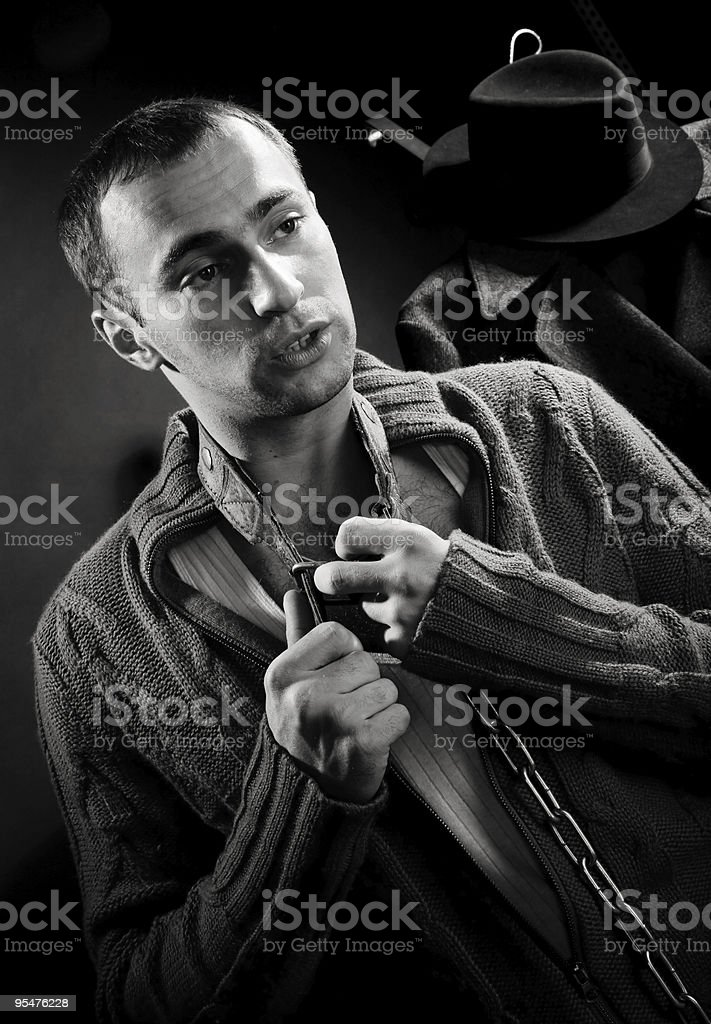 young man tells royalty-free stock photo