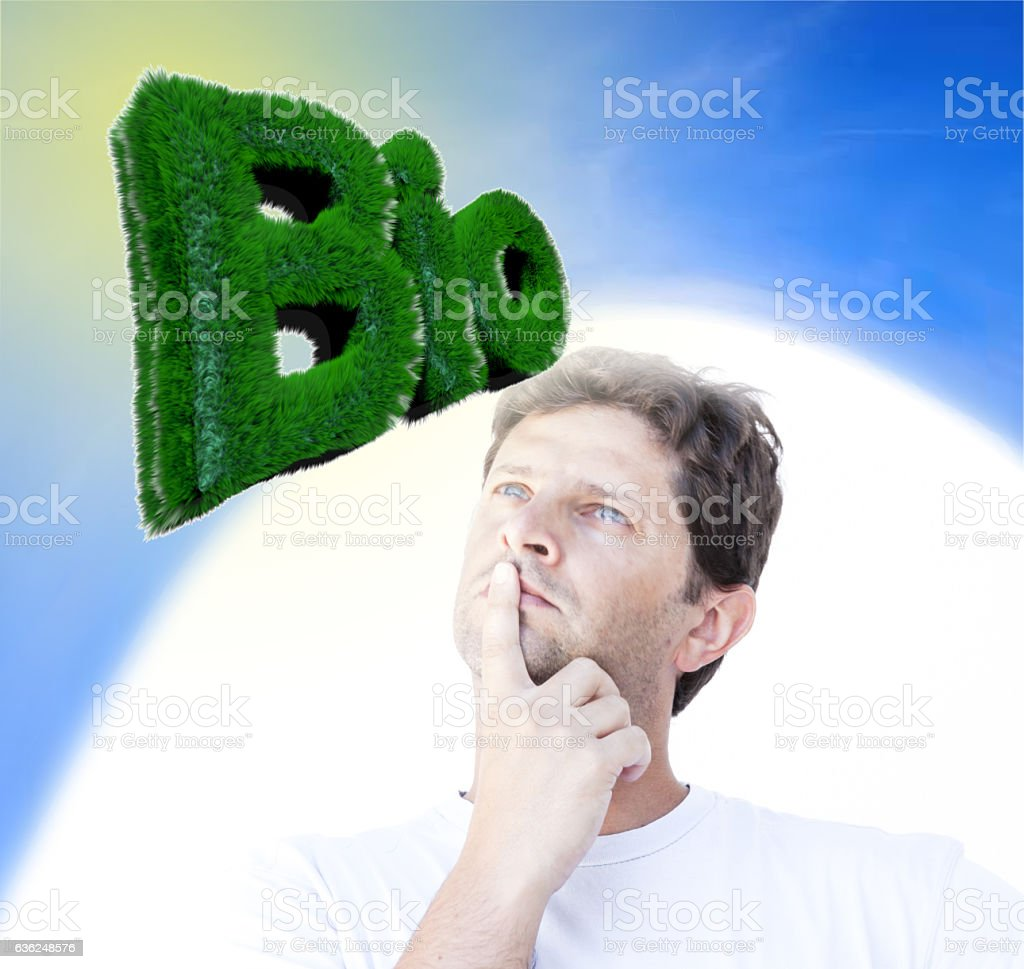 Young man thinking 'BIO' stock photo