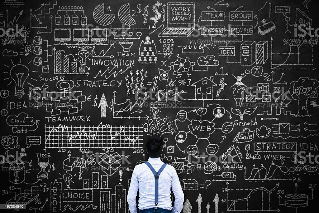 Young man thinking idea Concept on blackboard stock photo