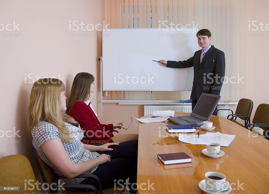 Young man to speak at a meeting royalty-free stock photo