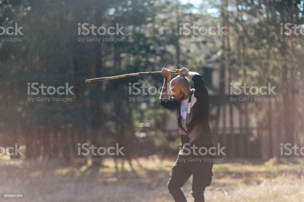 Young man training martial arts in the nature stock photo