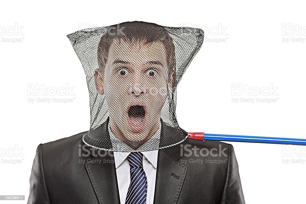 Young man trapped in a butterfly net royalty-free stock photo
