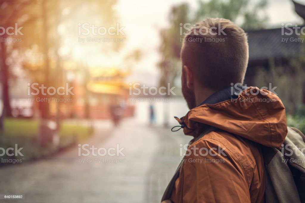 Young man traveling in China stock photo