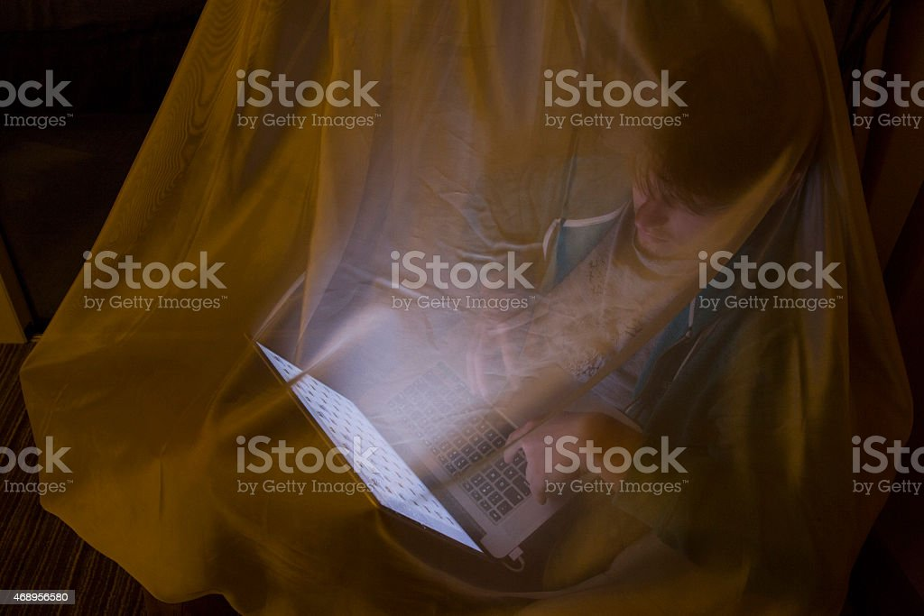 Young man uses laptop under mosquito netting stock photo