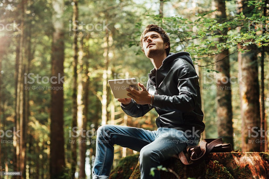 Young man using a digital tablet in the woods stock photo