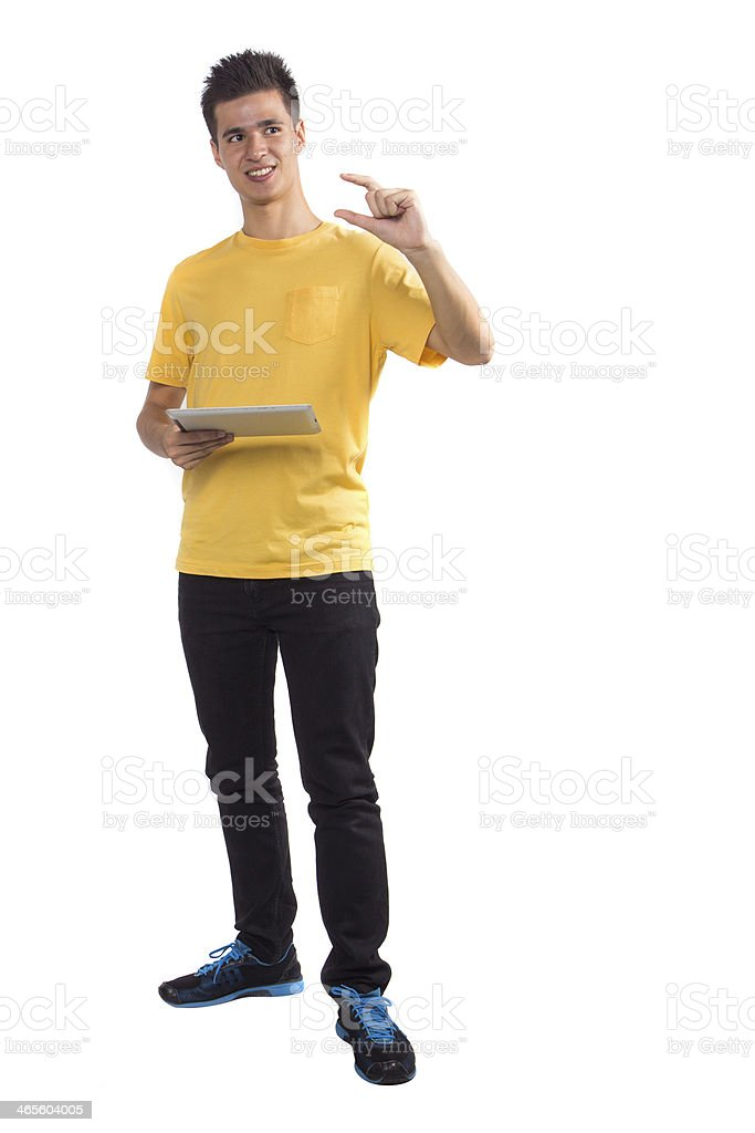 Young man using a tablet computer PC royalty-free stock photo