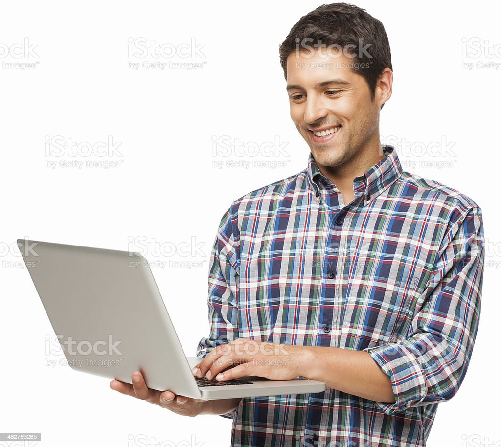 Young Man Using Laptop - Isolated royalty-free stock photo