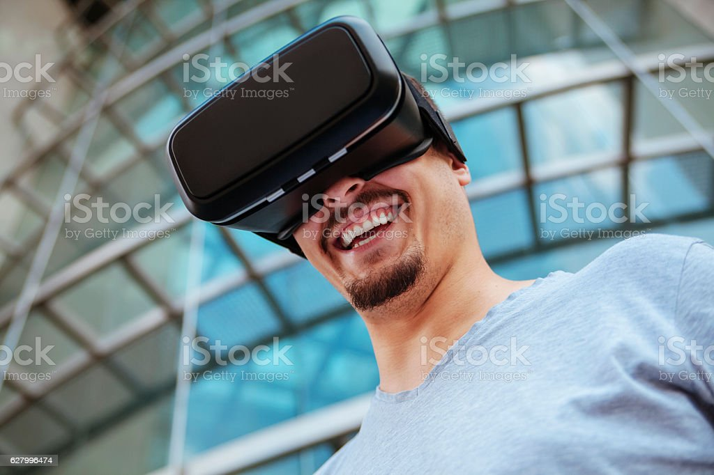 Young Man Using VR stock photo
