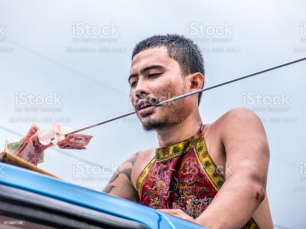 Young Man Vegetarian Festival Thailand Pierce Self Harm stock photo