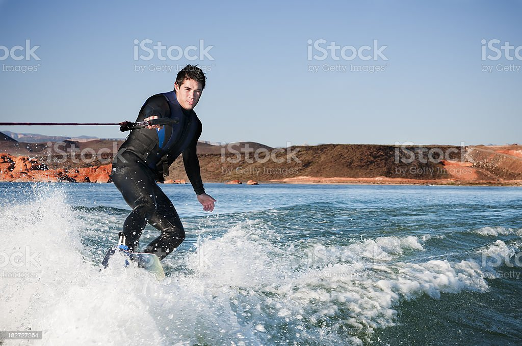 Young man wakeboarding - V royalty-free stock photo