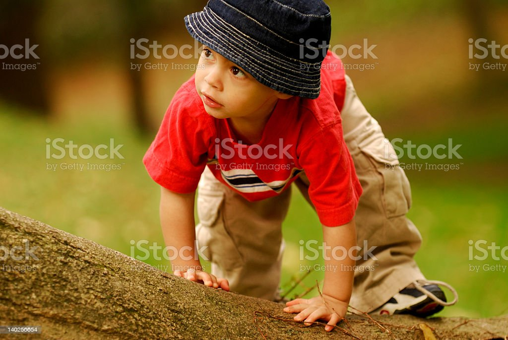 A young man wearing a fishing hat royalty-free stock photo