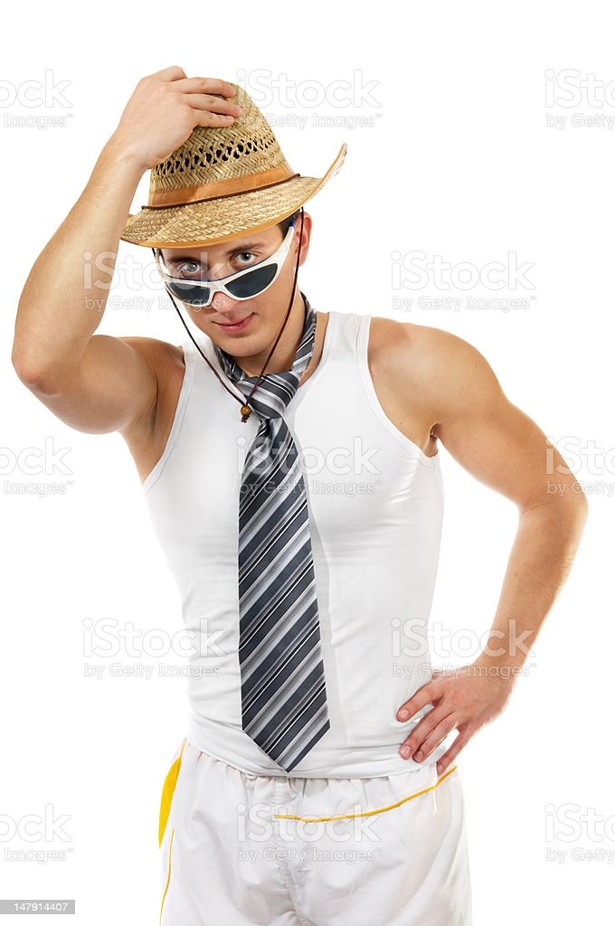 Young man wearing a hat with tie in sunglasses royalty-free stock photo