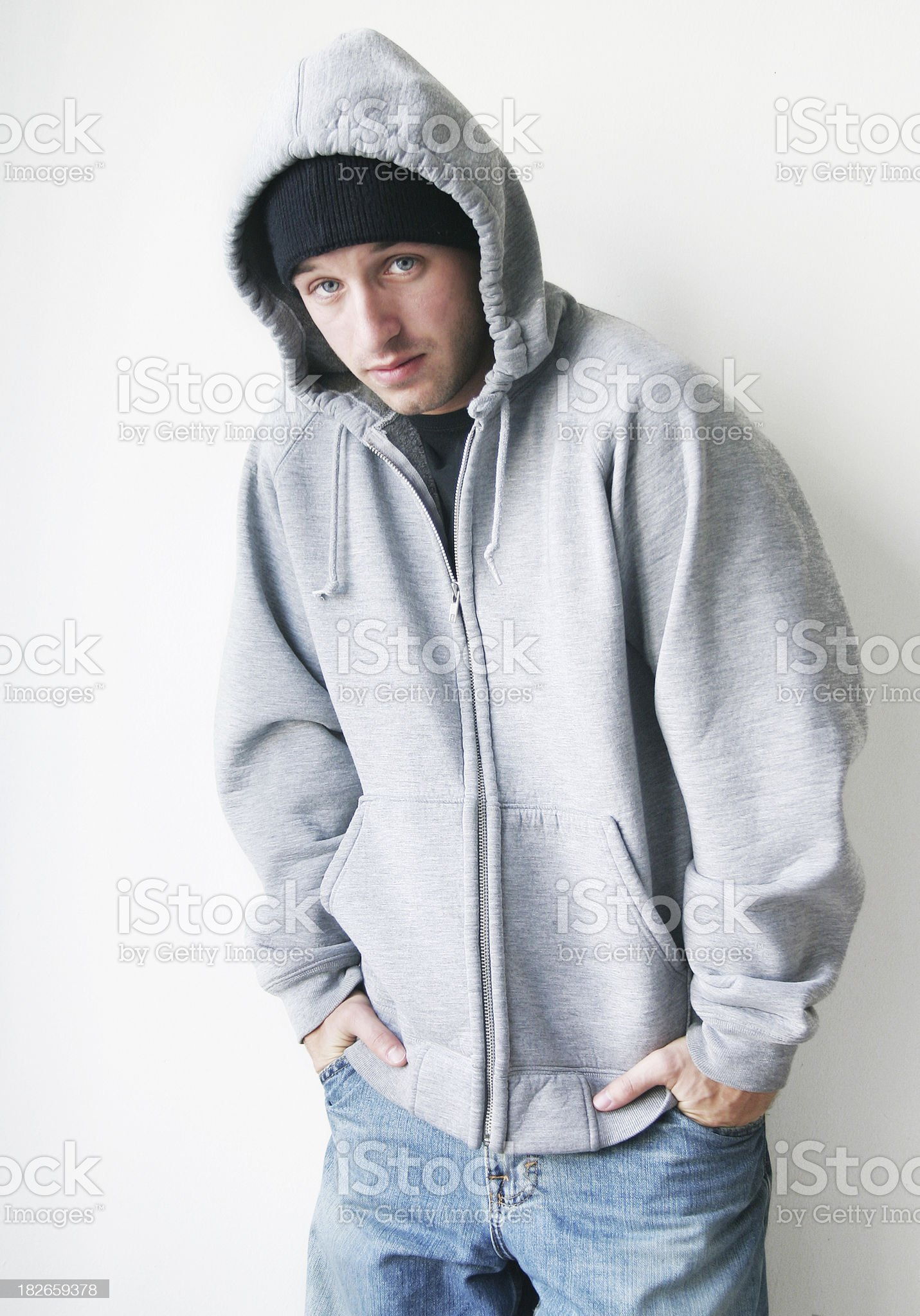 Young man wearing a hoody royalty-free stock photo