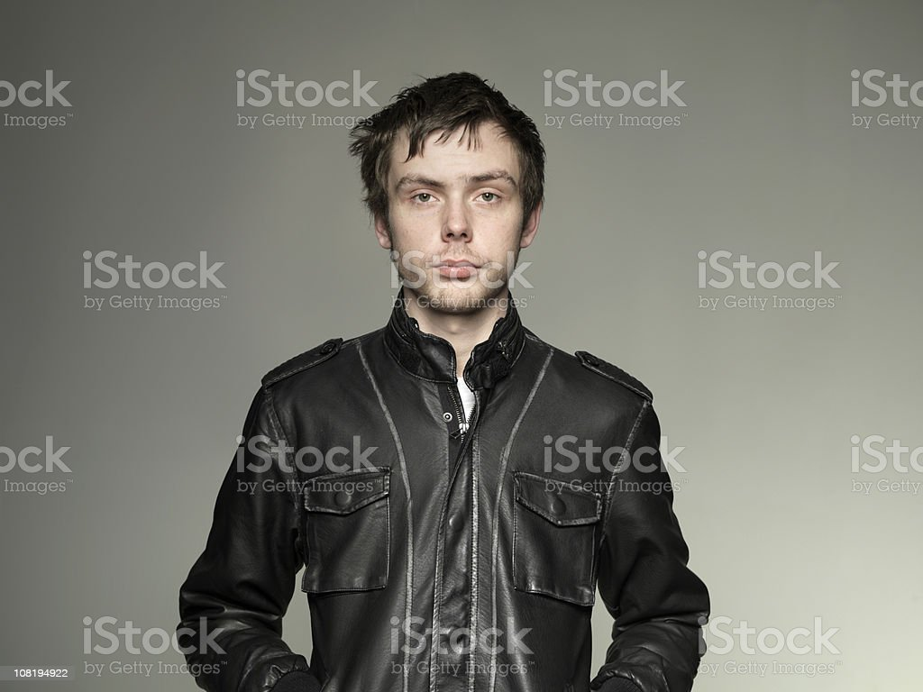 Young Man Wearing leather Jacket royalty-free stock photo