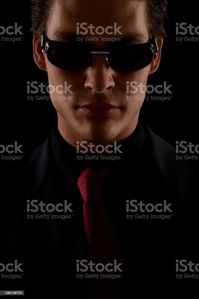 Young Man Wearing Suit and Sunglasses royalty-free stock photo