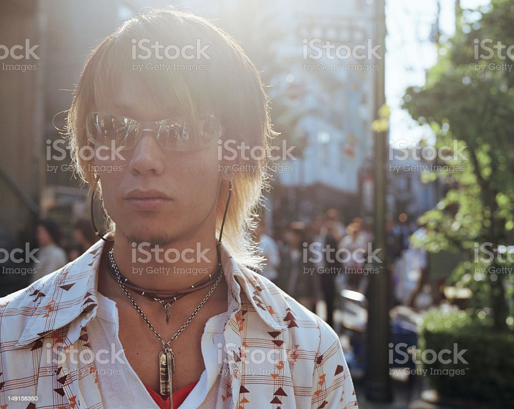 Young man wearing sunglasses, portrait royalty-free stock photo