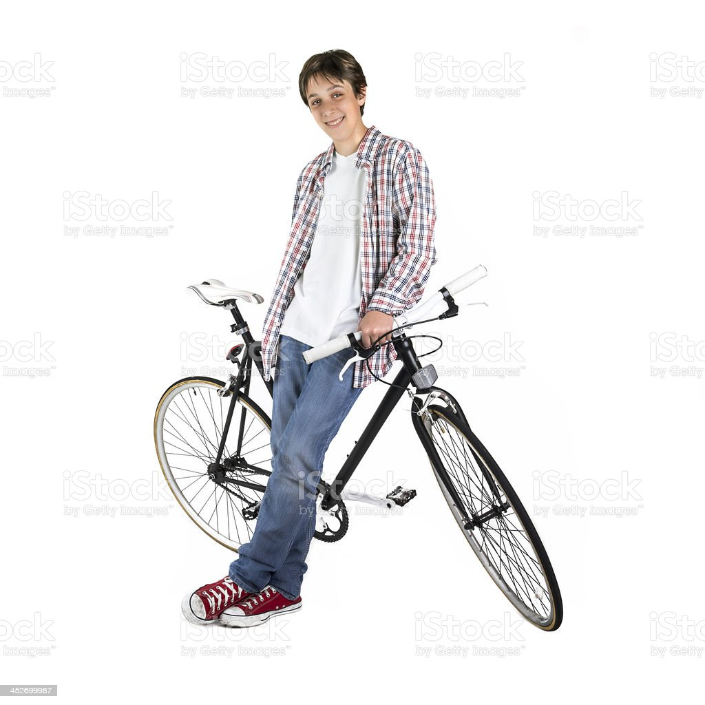 Young man with a bicycle royalty-free stock photo