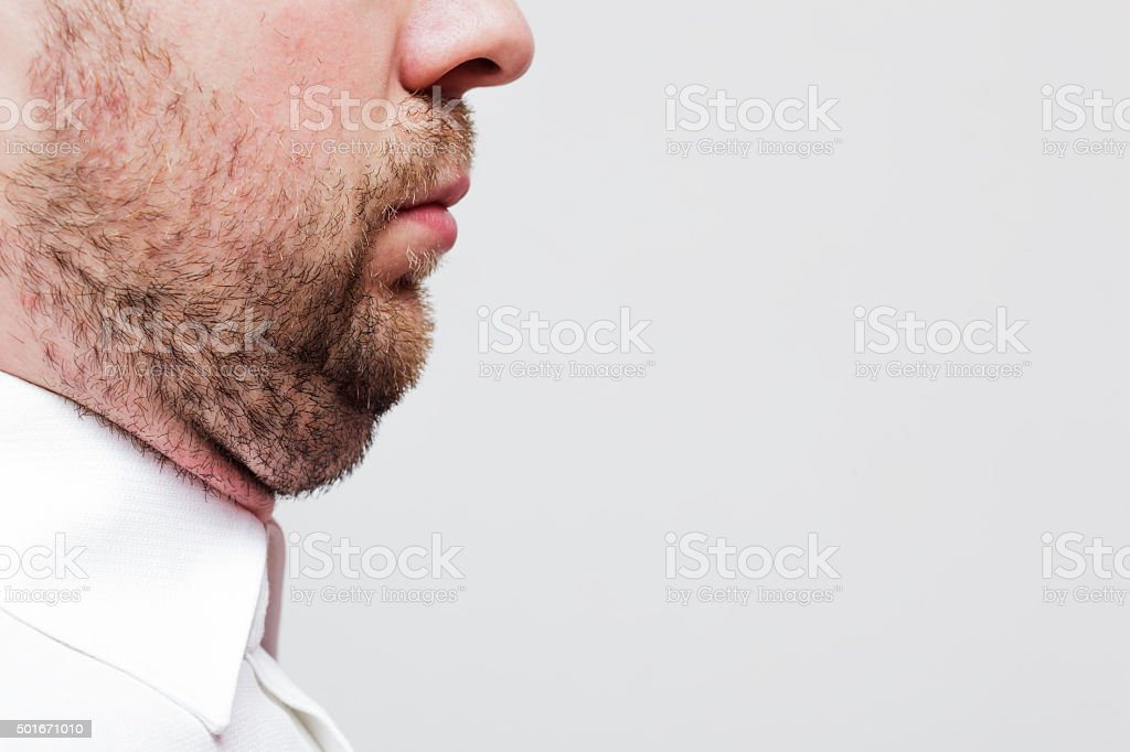young man with a double chin stock photo