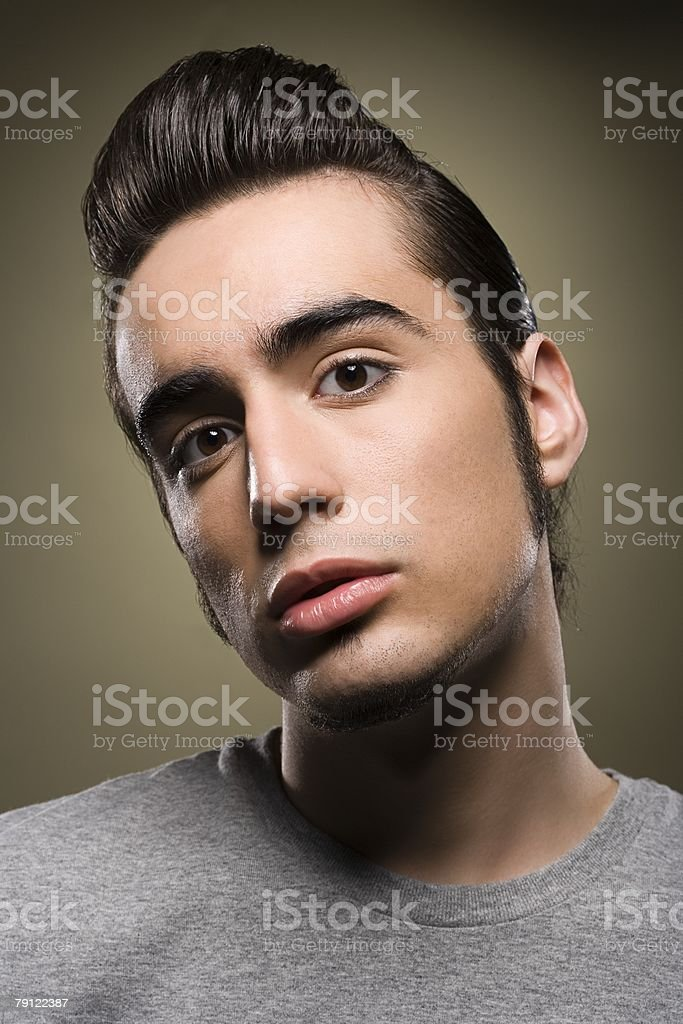 Young man with a quiff stock photo