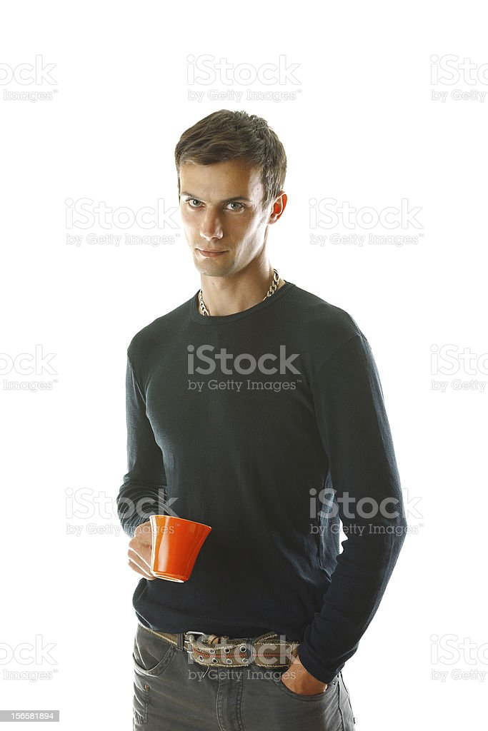 Young man with an orange cup royalty-free stock photo