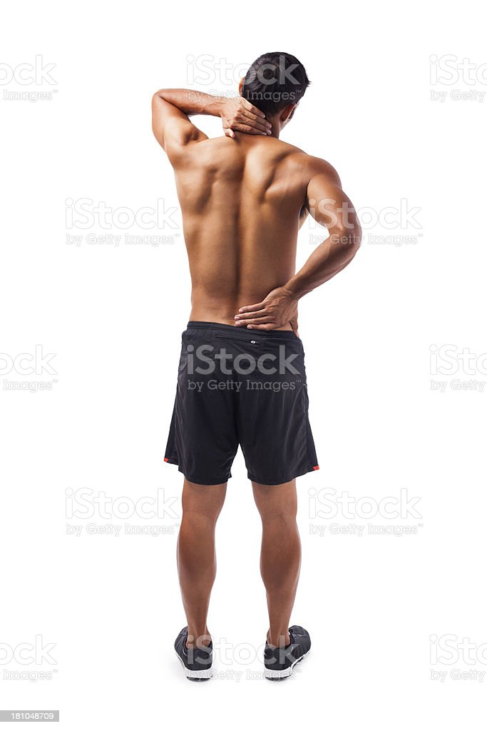 Young man with backache royalty-free stock photo