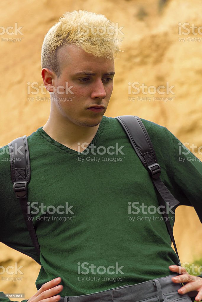 Young man with backpack - Joven con Mochila stock photo